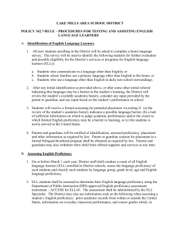 Policy 342.7-Rule - Procedures for Testing & Assisting English