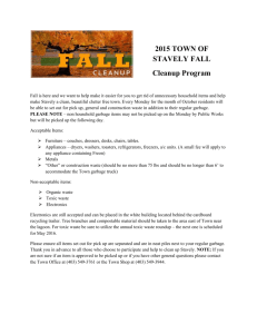 2015 TOWN OF STAVELY FALL Cleanup Program