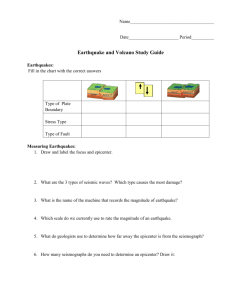 Earthquake and Volcano Study Guide
