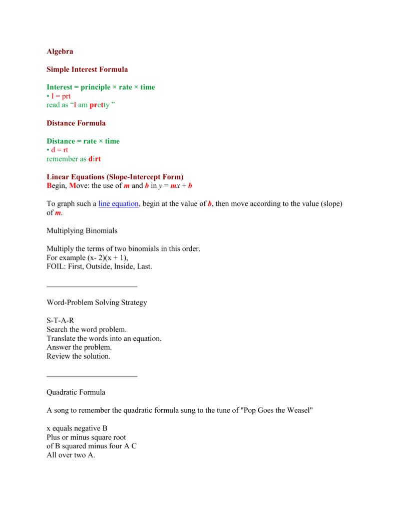 Algebra mnemonics falaconquin