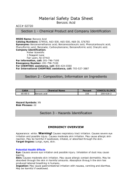 Material Safety Data Sheet Benzoic Acid ACC# 02720 Section 1