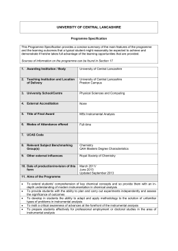 Programme Specification - University of Central Lancashire