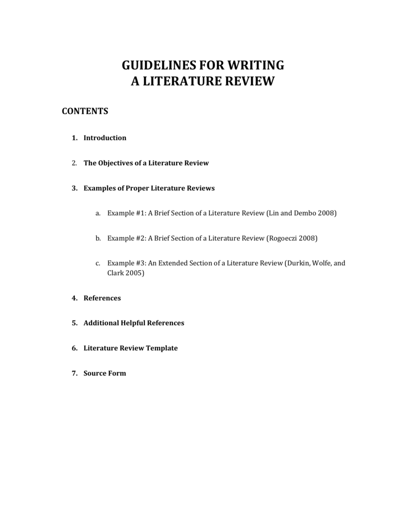 literature review introduction examples