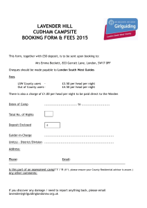 LAVENDER HILL Booking Form - Girlguiding London South West