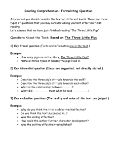 Reading Comprehension-three levels of questioning