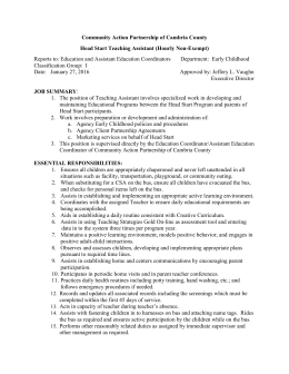 Head Start Teaching Assistant Job Description_1 27 16
