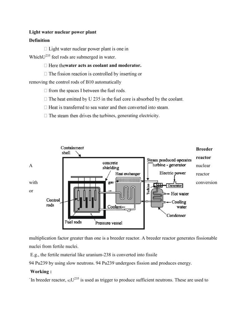 Light Water Nuclear Power Plant Definition Line Diagram