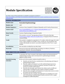 2007 Extended Epidemiology Module Specification