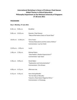 Naturalism Program Schedule - NUS Blog