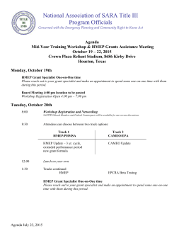 Agenda Mid-Year Training Workshop & HMEP Grants