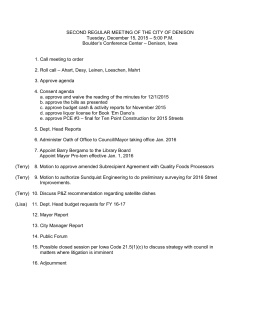 December 15, 2015 Second Council Agenda