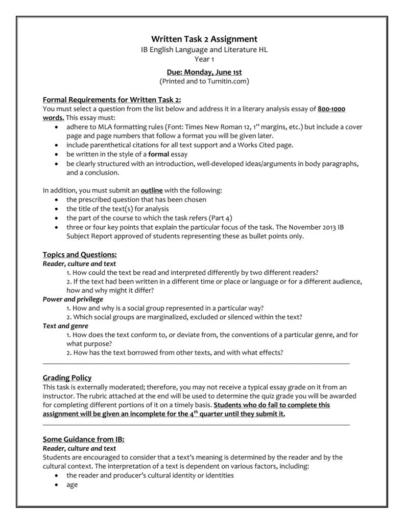 written task 2 essay