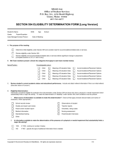 SECTION 504 ELIGIBILITY DETERMINATION FORM [Long Version]