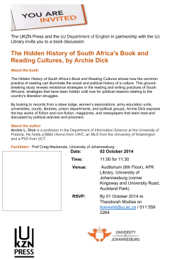 Archie Dick Hidden Histories Book Event 2nd October 2014