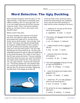 Word Detective - Ugly Duckling | Context Clues Worksheets for 2nd