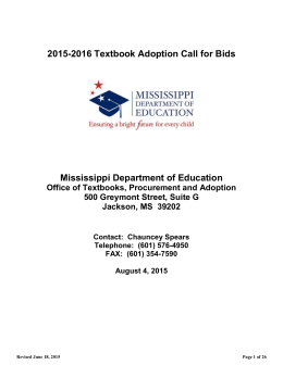 2015-2016 Textbook Adoption Call for Bids