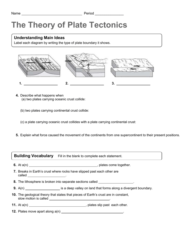 Theory of Plate Tectonics worksheet