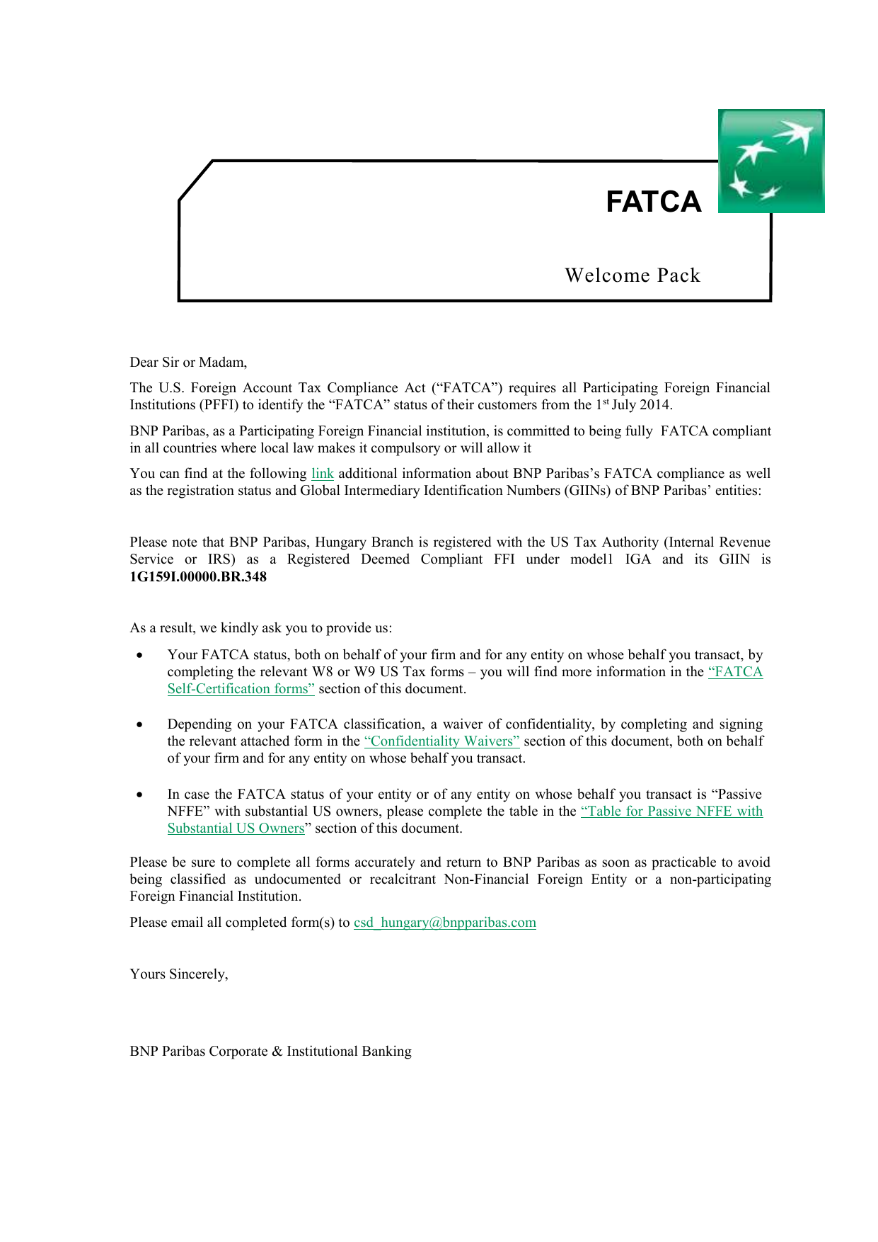 Standard Fatca Client Onboarding Package