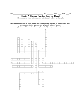 Chapter 7: Chemical Reactions Crossword Puzzle
