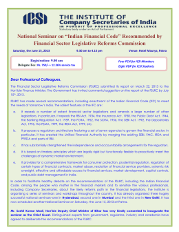 "National Seminar on ""Indian Financial Code"" Recommended"
