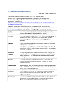 An Evaluability Assessment Checklist
