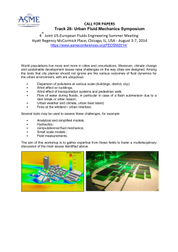 CALL FOR PAPERS Track 28- Urban Fluid Mechanics Symposium