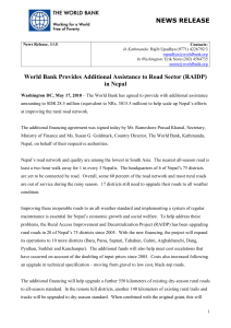 World Bank Provides Additional Assistance to Road Sector (RAIDP)