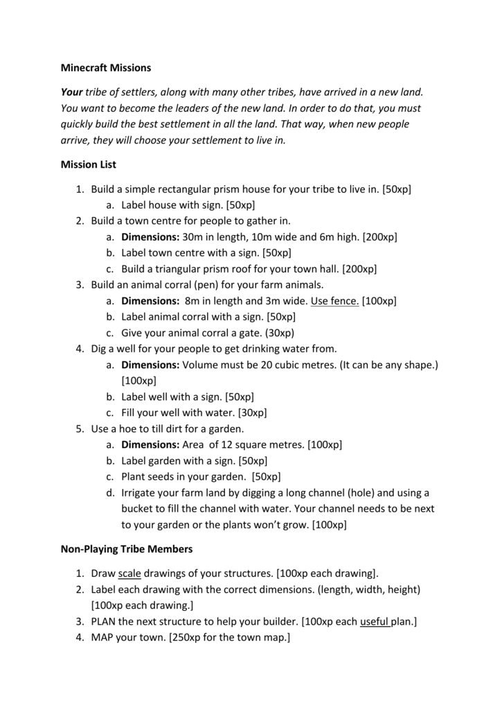 Minecraft Missions Worksheet (Microsoft Word – )