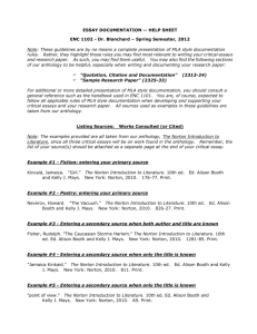 ESSAY DOCUMENTATION -- HELP SHEET ENC 1102
