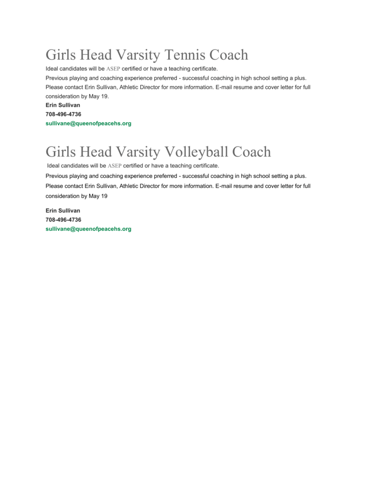 Girls Head Varsity Tennis & Volleyball Coach