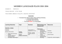 6th Year French Plan - Loreto Abbey Dalkey