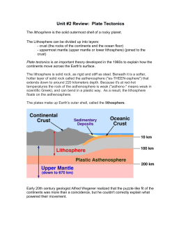 Plate Tectonic (unit 2) Exam Review
