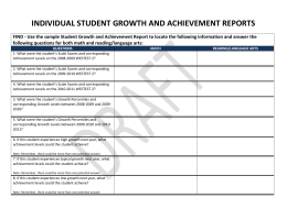 INDIVIDUAL STUDENT GROWTH AND ACHIEVEMENT REPORTS