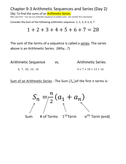 Ch 9-3 Arithmetic Sequences and Sequences DAY 2