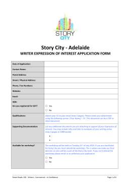 Story City: Adelaide – EOI Writers 2015