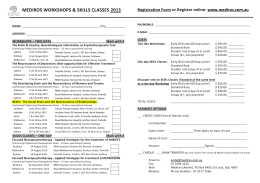 mediros workshops & skills classes 2013