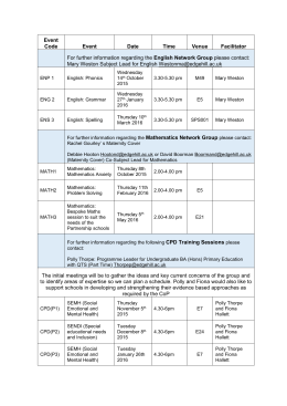 Subject Specific Training Schedule