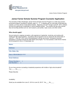 JFS Summer Counselor Application