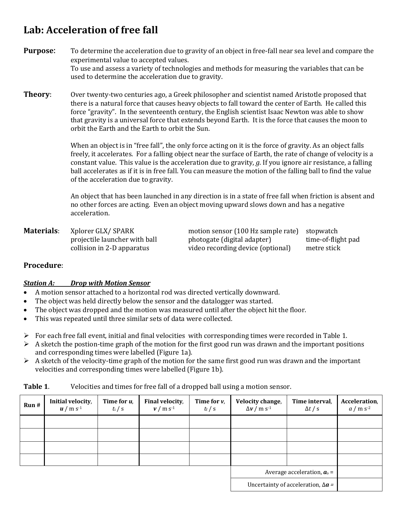 lab report physics free fall and projectile motion