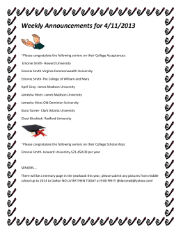 Weekly Announcements for 4/11/2013