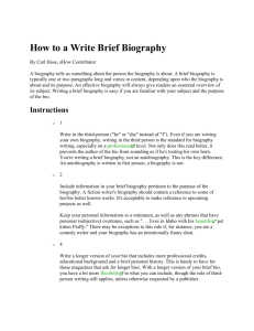 How to a Write Brief Biography
