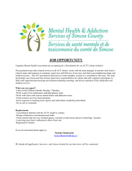 JOB OPPORTUNITY Canadian Mental Health Association has an