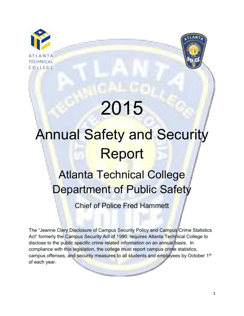 ATC Clery Crime Statistics Report and Annual Security/Safety