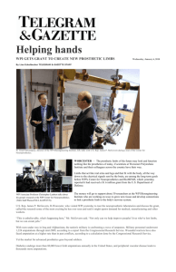Helping hands WPI GETS GRANT TO CREATE NEW PROSTHETIC