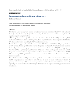 Severe maternal morbidity and critical care
