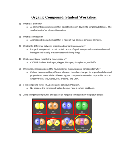 Organic Compounds Student Worksheet- Teacher Key