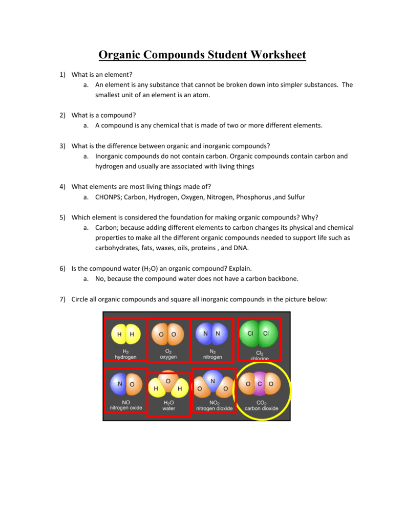 Organic Compounds Student Worksheet Teacher Key – Carbon Compounds Worksheet