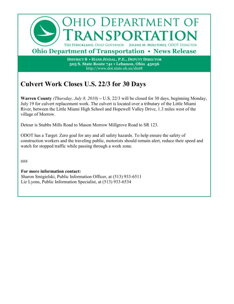 Culvert Work Closes U S  22/3 for 30 Days