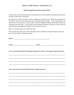 This document is to be used by Owners to provide input on desired