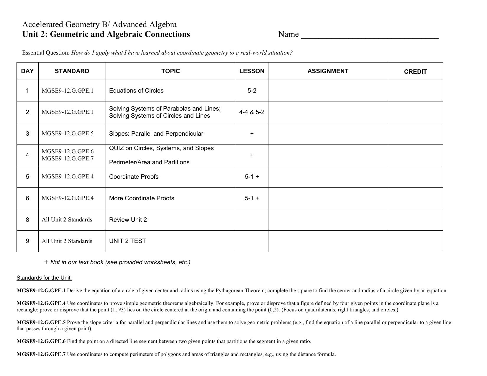 AGAA Unit 2 Plan (Geometric and Algebraic Connections)